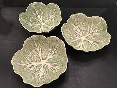 """* Set of 3* Bordallo Pinheiro Cabbage Leaf 7 1/4""""Cereal / Soup Bowls Portugal for sale  Round Rock"""