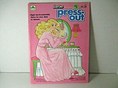 Vintage Barbie Eight Press-Out Items for Desk or Dresser Golden 1985 Unused