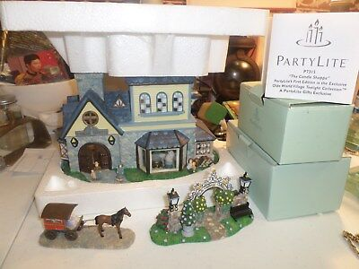 """PARTY LITE """"THE CANDLE SHOPPE"""" OLDE WORLD VILLAGE SET THREE (3) PIECES"""