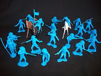 Marx Reissue Set Of 20 Alamo Mexican Soldiers Presidio Type In Blue W  Horses