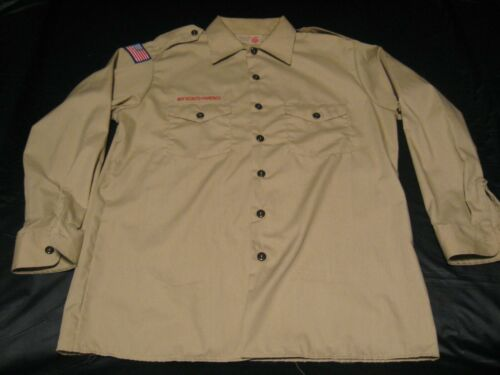 "Official BSA Boy Scout Adult LRG (16-16 1/2"") Tan Uniform Long Sleeve Shirt"