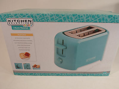 New Kitchen Selectives Wide Slot Cool Touch 2-Slice Toaster-Turquoise Blue Teal