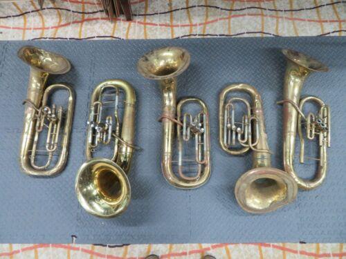 Lot of 5 Non Playing Baritone Horns Roth/Bundy/H & A Bundy/Elkhorn/King