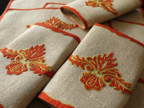 MISTRAL Vintage Madeira Embroidery 8 Linen Cocktail Napkins CONSTANCE LEITER