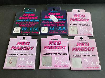 6 PACKS DRENNAN HOOKS TO NYLON JOB LOT RED MAGGOT TEAM ENGLAND
