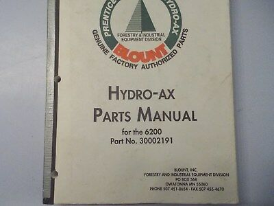 Prentice 6200 Dealer Parts Manual Hydro Ax 30002192