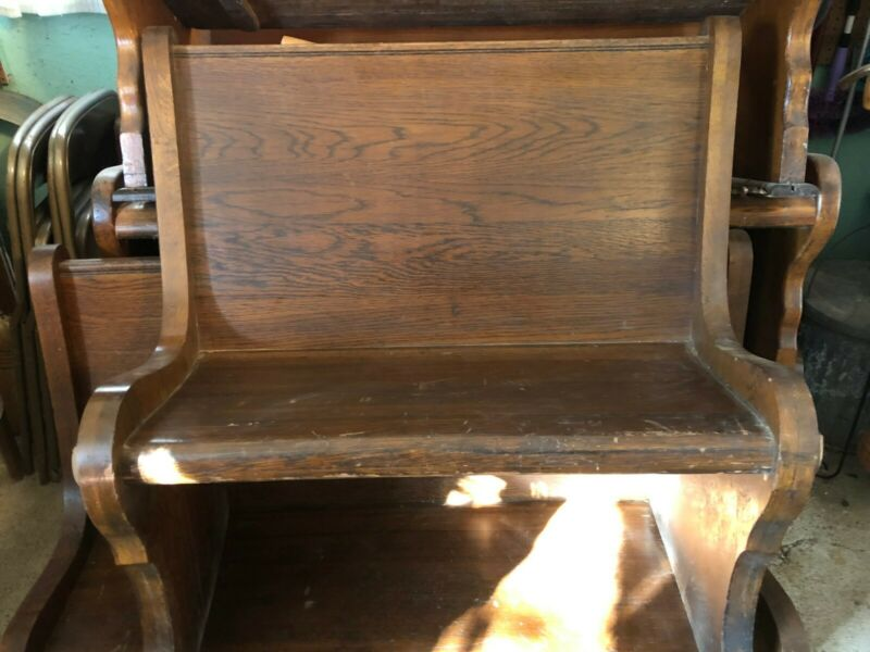 antique church pews dark stained early 1900
