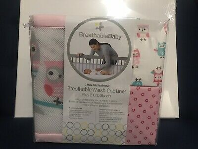 BreathableBaby  3pc Crib Bedding Set Pink Girl Owl Baby Infant Sheets **New**