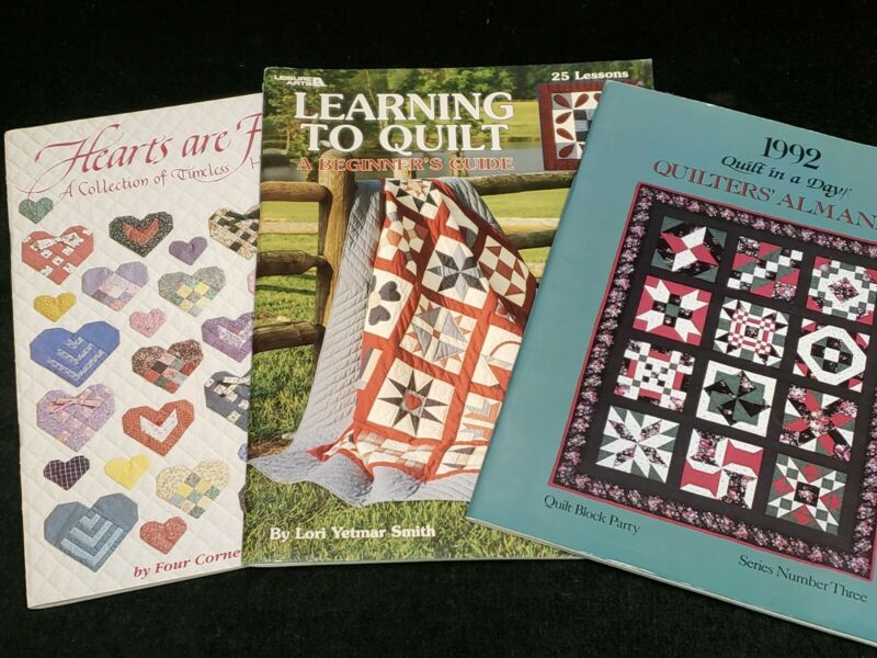 3 Quilt Books Patterns Templates Techniques Quilt in a Day Almanac 1992 & More