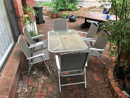 6pc Glass Table Outdoor Dining Setting