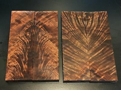 1) Small Pair of Bookmatched Highly Figured Black Walnut Burl Knife Scales Grips