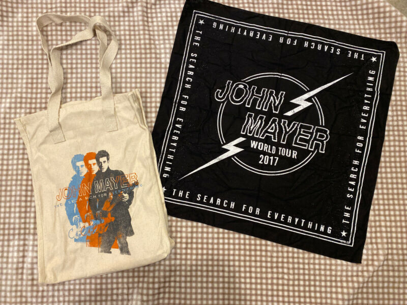 John Mayer 2017 Tote Bag Canvas & Bandana The Search for Everything Tour New