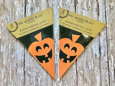 2 Pads (24 sheets each) Ms. Sparkle Halloween Banner Faces DIY Craft Party Decor - Diy Halloween Banner