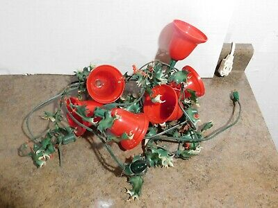Set of 6 Vintage Christmas Plastic Blow Mold Red Blinking Bells Light String