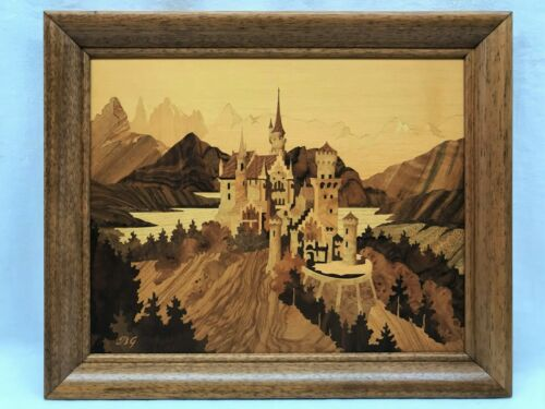 BUCHSCHMID GRETAUX MARQUETRY NEUSCHWANSTEIN CASTLE WOOD INLAY IN ORIGINAL BOX