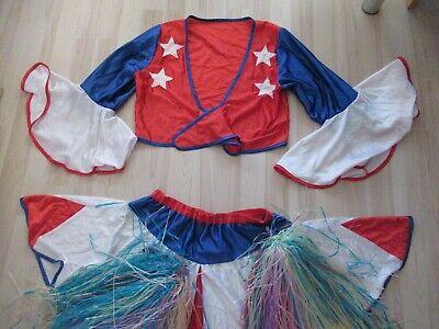 Karneval Fasching Frau Cheerleader Gr. S + Pompons Gruppenkostüm