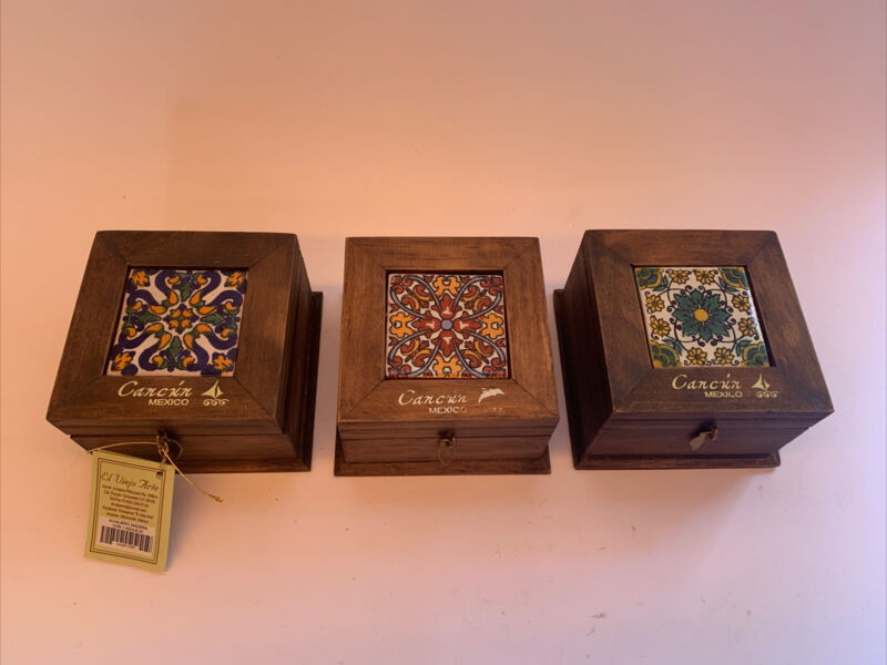 3 new wood mexican tile trinket boxes El Viejo Arte