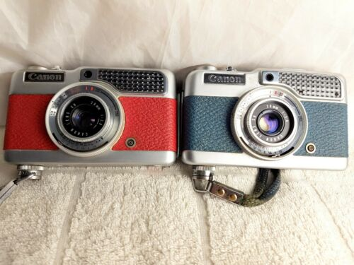 Very Rare Canon Demi Color Half Frame Camera, Red and Blue.
