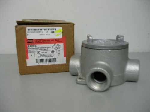 "Crouse Hinds Condulet Conduit Outlet Body Box 1"" & Cover EABT36"