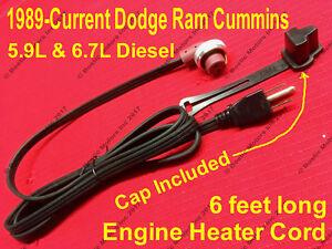 Dodge Ram Cummins 5.9 6.7 Diesel Block Heater Cord Cable Cabel 1989-2018 w/ Cap