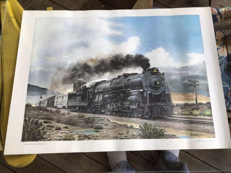 The Chief Locomotive Engine Print, 1971, 22 X 16, Train , Howard Fogg