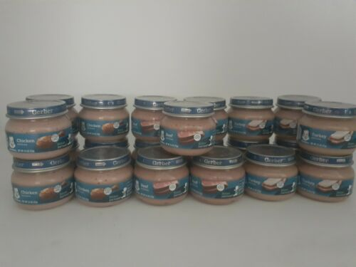 Baby Food Meats 21 Jars Gerber, Chicken Beef Turkey