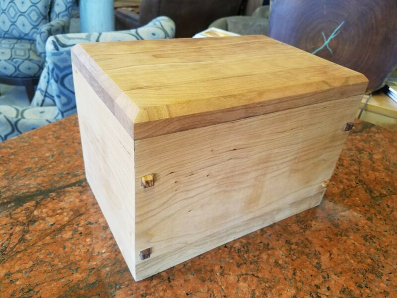 Handmade cherry wood cremation urn