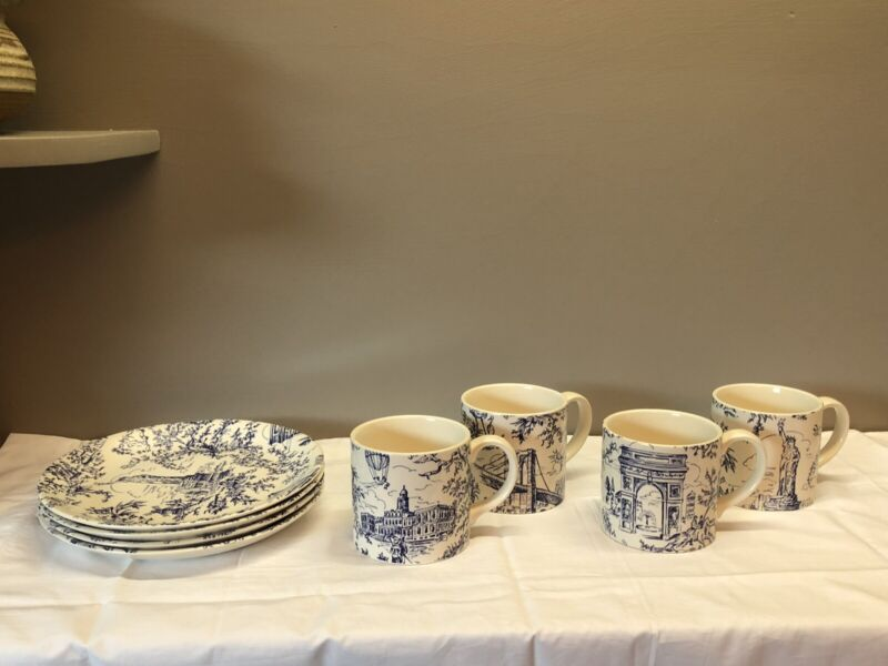 "Tiffany & Co ""New York Toile"" Blue and White Salad 4 Plates and 4 Match Cups."