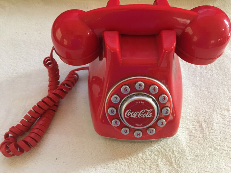 Vintage Collectible Coca-Cola Retro Push Button Telephone Red and white