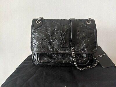 Saint Laurent Paris Black Logo Niki Baby Bag in Crinkled Vintage Leather