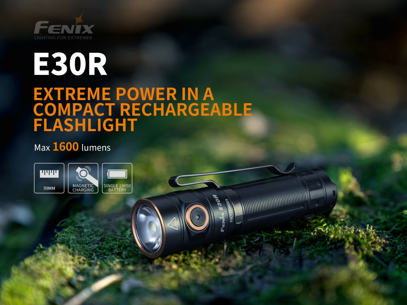 Fenix E30R LED Taschenlampe mit 1600 Lumen, USB Anschluss, inkl. 3500mAh Akku