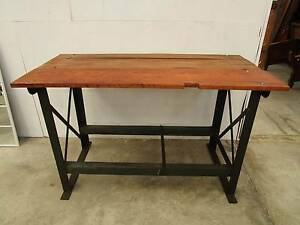 C49003 Industrial Metal Timber Bar Workbench Kitchen Island Table Unley Unley Area Preview