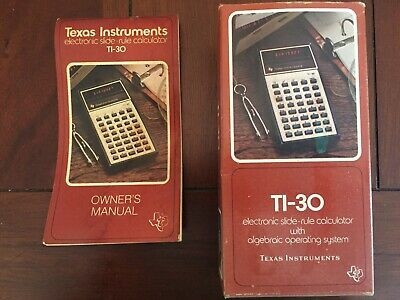 Vintage Texas Instruments TI-30 Calculator Owner's Manual & Box & Receipt 1976