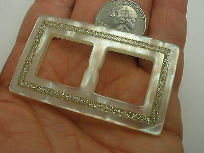 New Plastic Mother of Pearl Glitter Inlay Belt Buckle/Slider  40mm (PB4)