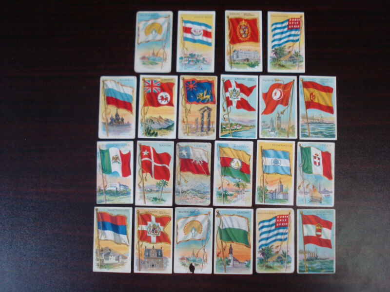 1909 T59 Recruit Little Cigars Flags Of All Nations Series Black 22 Card Lot