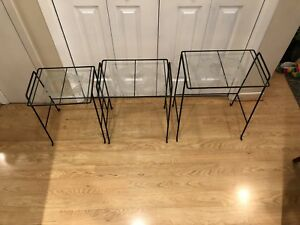Vintage Iron and Glass Nesting Tables