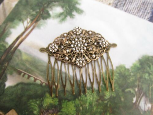 Vintage filigree hair comb bronze seed pearls crystals French twist Gorgeous