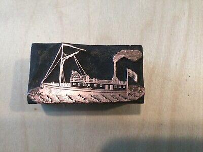 Letterpress Printing Print Block Steamship Steamboat Vintage 1800s