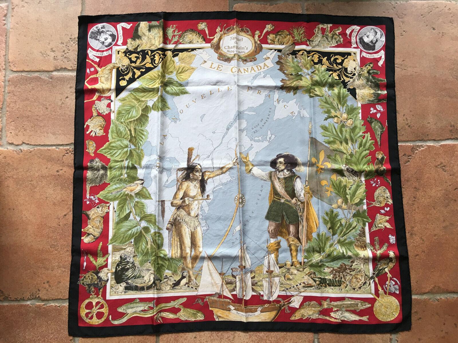 Foulard carré hermès en soie - le canada - 90 x 90 cm