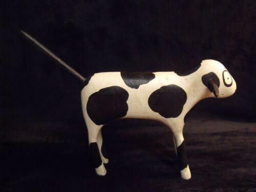 """1990 TED NICHOLS SIGNED HAND CARVED WOOD HAND PAINTED 7"""" DALMATION FIGURINE"""
