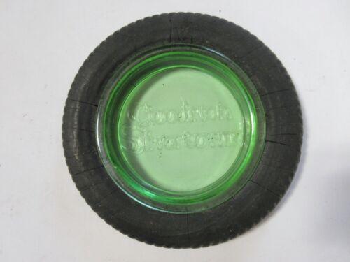 B. F. Goodrich Silvertowns Tire Ashtray-Green Depression Glass-Original Tire
