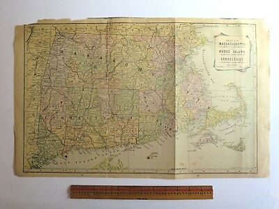 "Original Antique 1899 Atlas Map Massachusetts, RI, Conn. Oversize 21.75"" x 13.5"""