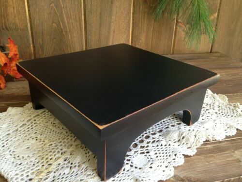 """HANDCRAFTED Primitive Country Rustic 7"""" Black Distressed Farmhouse Wood Riser"""