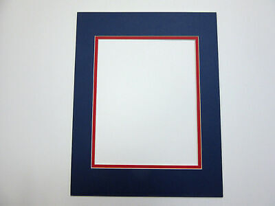 Picture Framing Double Mat 11x14 for 8x10 photo Blue with red covid 19 (Double Picture Mats Matting coronavirus)