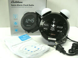 Electrohome Black/White Retro Style Clock Alarm Night Light Radio Dual Alarm