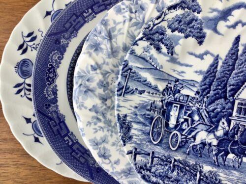 "Vintage Mismatched China Salad Plates ~ Set of 4 ~ Blue & White ~ 7 3/4""-7 7/8"""