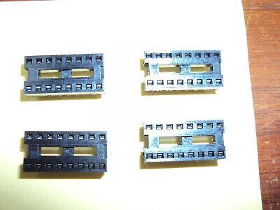 Qty 4 16-pin I.c. Socket Pcb Solder Dip Augat  Nos