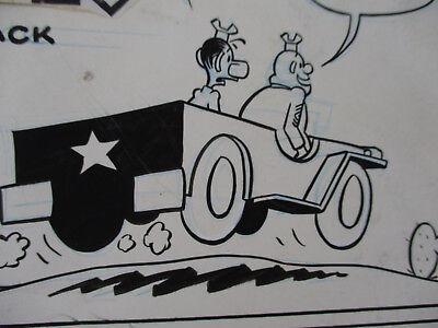 Original Art World War 2 Jeep Sad Sack Classic Humor Comic Book Art 1970s