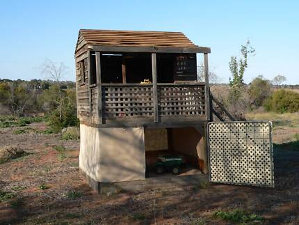 Trampoline, Cubby house, Swing set.