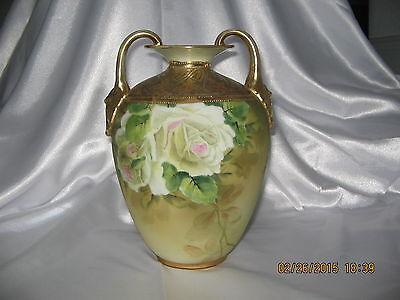"Nippon 8"" Double Handled Vase~White Roses~Heavy Gold~Mark #47 Morimura~Excellent"